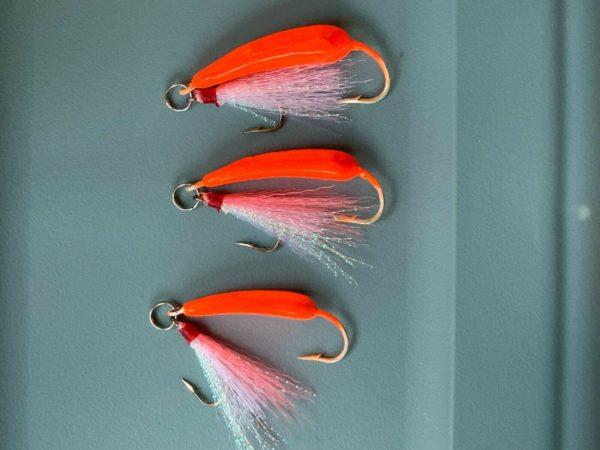 5 Pack Ringed Pompano Goofy Jig orange jigs w// white//pink teaser 3//8,1//2,3//4oz